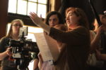 Emma Fried directing on the set of the short film Paper Future.